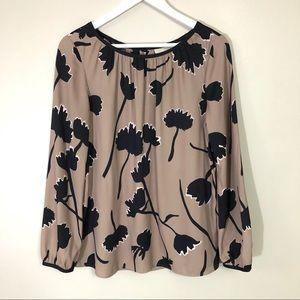 Loft black/taupe floral print blouse